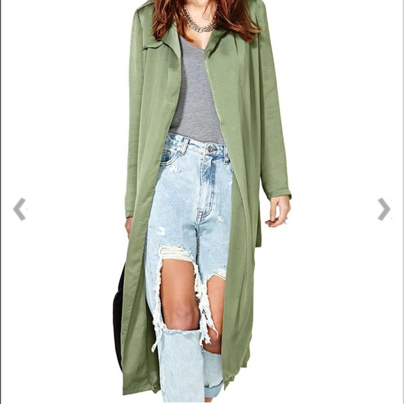 62% off Jackets & Blazers - NEW!!!! olive green long trench coat ...