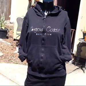 Black zip up sweat coat zip up with pocket size SM