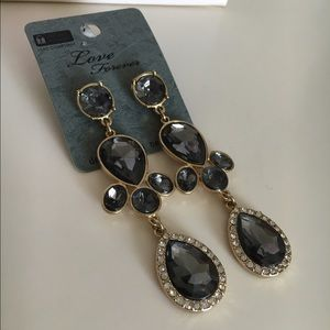 Gray and gold dangling earrings