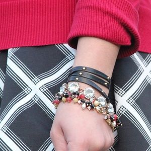 Jewelry - Red Black and White Beaded Bracelet