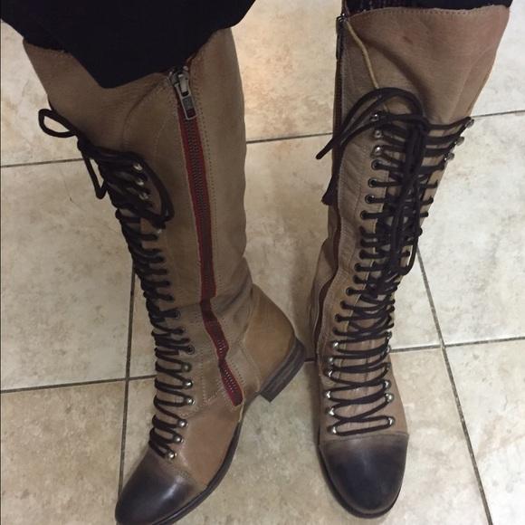 Oír de Ballena barba convergencia  Steve Madden Shoes | Steve Madden Perrin Tall Lace Up Leather Boots |  Poshmark