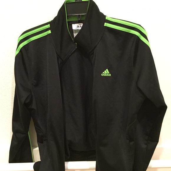 Adidas - Black and green adidas jacket from ! treasure's closet on ...
