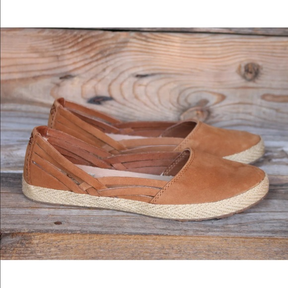 38c9d1a3f48 UGG Cecily Chestnut Leather Espadrille Flats US 9 NWT