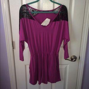 Purple and black lace romper.