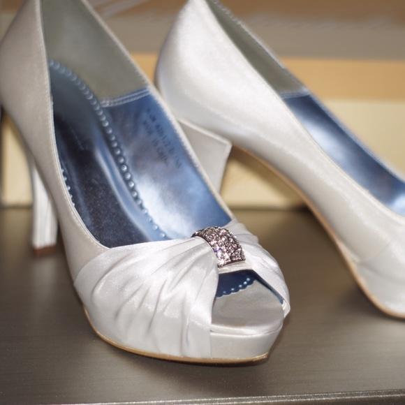 341f8c048 Gorgeous white wedding heels from David s bridal