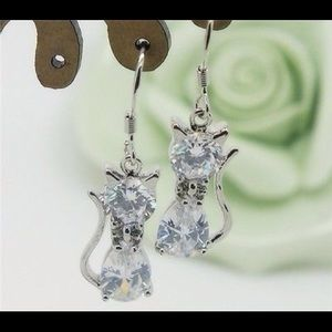 Sterling silver 925 cat earrings.