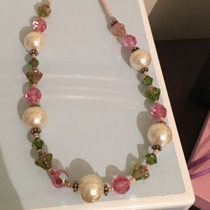 Preppy pink, green stones and pearl necklace.