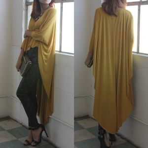 "X ""Another Moon"" Maxi High Low Poncho Tunic Top"