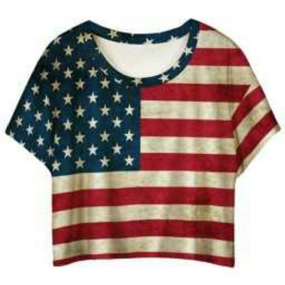 38 Off Tops Red American Flag Printed Ladies T Shirt
