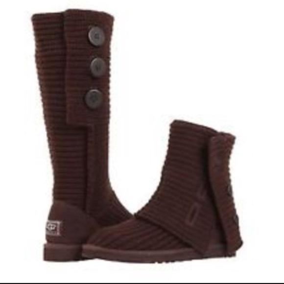 Dark brown cardy ugg boots