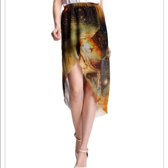romwe romwe galaxy universe high low skirt sheer from