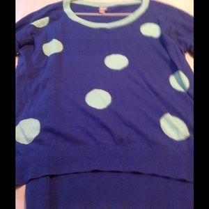 JCP L Sweater with Polka Dots Blue green dots!