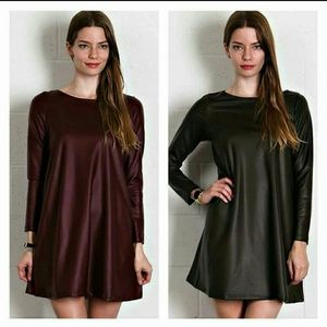 Olive PU scoop neck mini dress