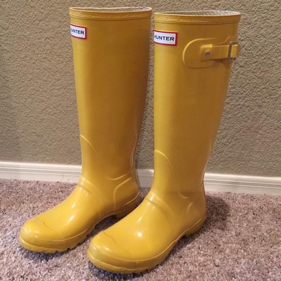 17% off Hunter Shoes - Yellow Hunter Original Tall Gloss Rain ...