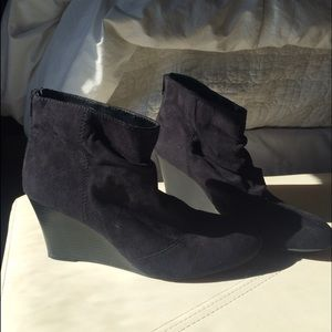 Black ankle bootie wedges