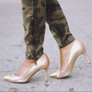 J. Crew gold glitter pumps