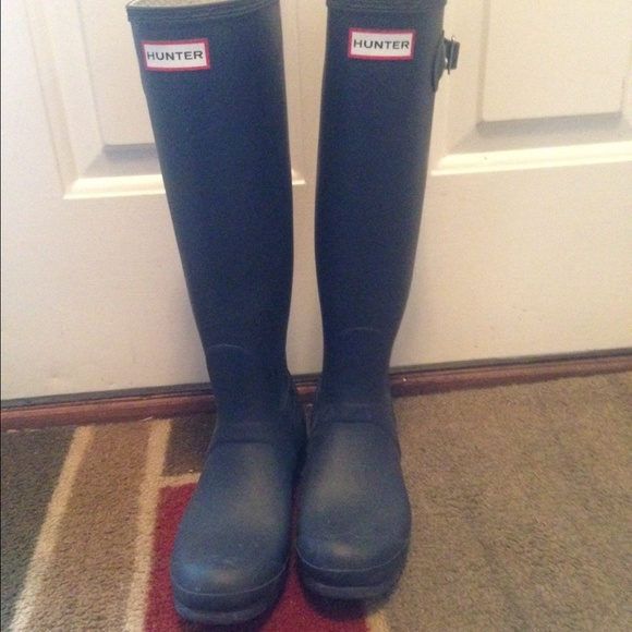 34% off Hunter Shoes - ❌SOLD❌ Navy blue matte hunter boots from ...