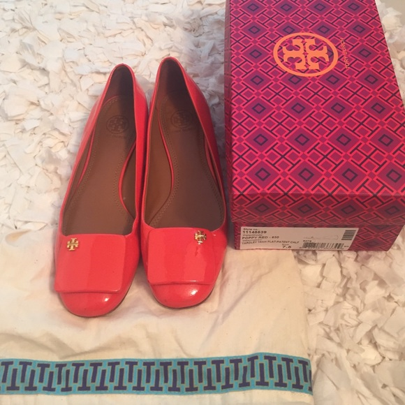 Tory Burch Poppy Red Yardley Patent Flats