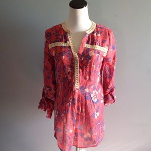 Anthropologie retro print butterfly top