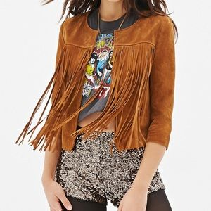 NWT f21 fringe leather boho jacket