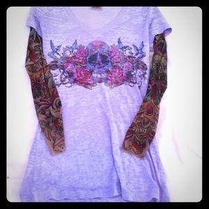 wild rose tattoo sleeved tee sz large