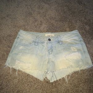 F21 ripped denim shorts