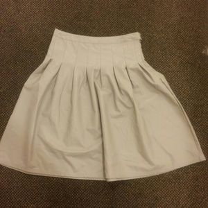 Light Gray faux leather pleated skirt