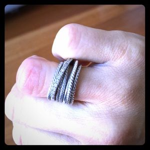 David Yurman Crossover Wide Ring with Diamonds