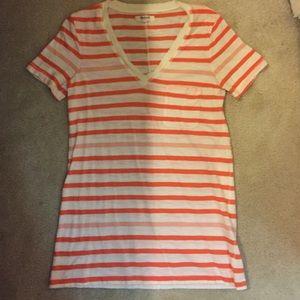 Madewell Orange striped pocket top size xsmall