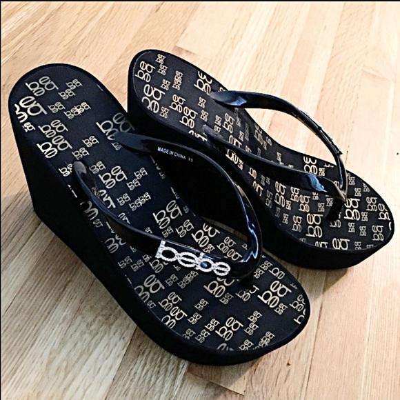 05376c74cbfde3 bebe Shoes - Bebe Logo High Flip Flops