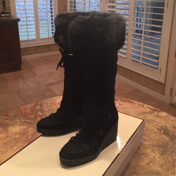 76 coach shoes coach black wedge boots with fur