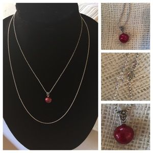 Jewelry - Solid sterling cranberry w .925 chains in 2 sizes!