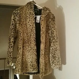 Leopard print winter coat