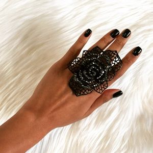 New Oversized Black Crystal Cocktail Ring!