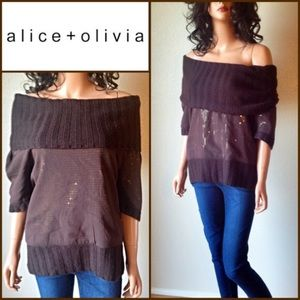 Alice + Olivia Sweaters - Alice + Olivia Silk Cashmere Sequins Sweater
