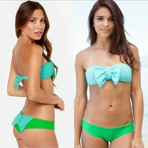 New lolli swim marine bow bandeau zanny bikini top