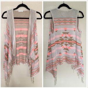 JustFab Jackets & Blazers - JustFab Beige & Pink Aztec Fringe Vest