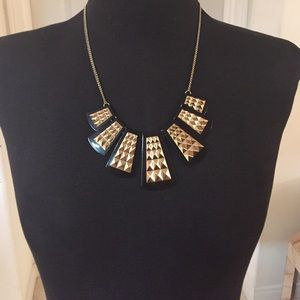 Gold and black tribal necklace
