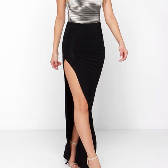71% off Dresses & Skirts - Fitted black maxi skirt. Side slit from ...