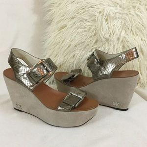 Michael Kors BRAND NEW pewter leather wedges