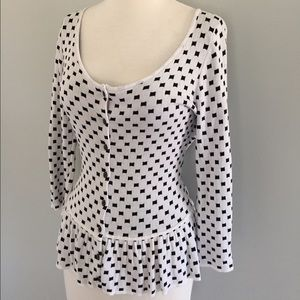 Evolution by Cyrus Sweaters - Black/White Squares; Peplum Cardi; Size S
