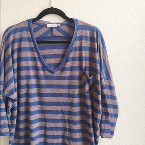 Blu Pepper Tops - Oversized Striped Top