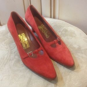 New Salvatore Ferragamo red leather shoes Sz 7B