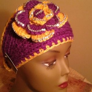 Royal purple and gold head wrap