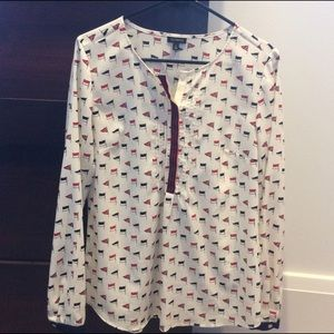 Talbots Tops - Talbots blouse - Nautical Flags - Size 6