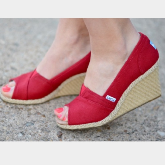 Toms Shoes | Toms Red Canvas Wedges