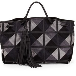 Isabella Fiore Handbags - Isabella Fiore Kennington Grey Wool Tote Bag