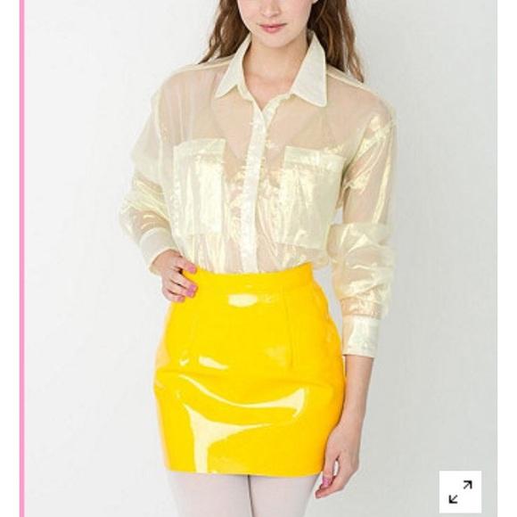c091ff5da27dd American Apparel Dresses   Skirts - American apparel yellow vinyl skirt  Cali sun   fun