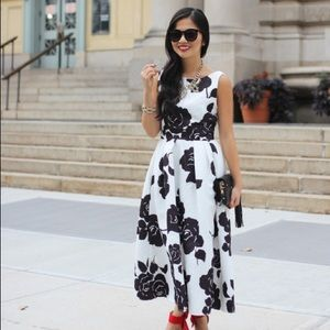 REDUCED‼️ Black and White Floral Tea Length Dress