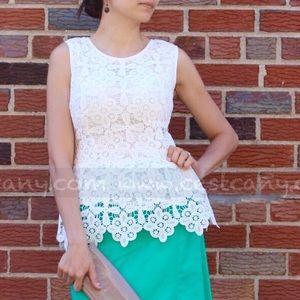 Tops - NEW Guipure Crochet Lace White Peplum Top